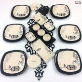 Keramika Retro Siyah 26 Parça 6 Kişilik Kahvaltı Takımı