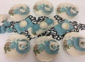Keramika Turkuaz Gül 32 Parça & 6 Kişilik Kahvaltı Takımı