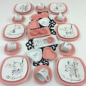 Keramika 34 Parça Peri Masalı Pembe Kahvaltı Takımı