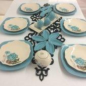 Keramika 6 Kişilik Kahvaltı Takımı Turkuaz Gül