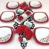 Keramika Dance Of Butterfly Red 6 Kişilik Kahvaltı...