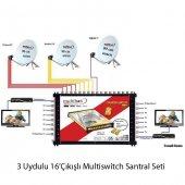 3 Uydulu 16çıkışlı Multiswitch Santral Seti