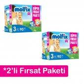 2&#039 Li Molfix Bebek Bezi Süper Fırsat Paketi 3 Numara 90&#039 Lı 4 9 Kg