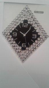 Time Gold Duvar Saati Akrilik Taşlı 80*50 Cm Metal