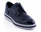 Rugan Siyah Renk Örgülü Casual Ayakkabı