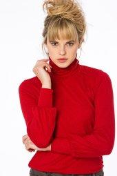 Castries Dik Yaka Kırmızı Basic Bluz