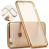 Apple İphone 6 6s Kılıf Silikon Transparan Kapak Gold