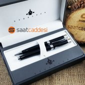 Alman Steel Pen 2 Li Kalem Seti Siyah Tükenmez + Dolma Kalem