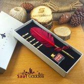 Orijinal Steel Pen Kuş Tüyü Divit Kalemi Seti Kırmızı