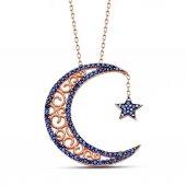925 Ayar Gümüş Mavi Zirkon Taşlı Ay Ve Yıldız Kolye