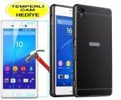 Sony Xperiam4 Aqua Kılıf Aynalı Bumper Siyah Kırılmaz Cam