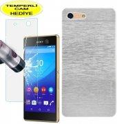 Sony Xperia M5 Kılıf Gümüş Metal Motomo Kırılmaz Cam