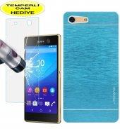 Sony Xperia M5 Kılıf Mavi Metal Motomo Kırılmaz Cam