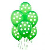 Yeşil Üstüne Beyaz Puantiyeli 14lü Balon Doğum Günü Parti Balonu