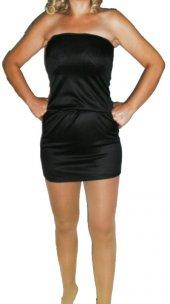 Siyah Parlak Straplez Mini Elbise