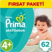 Prima Aktif Bebek 4+ Beden Maxi Plus 72 Adet Bebek Bezi
