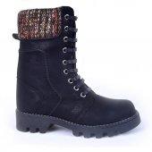 Mp 172 5301 100 Deri Bağcıklı Fermuarlı Kız Çocuk Bot Ayakkabı