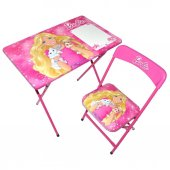 Barbie Kız Çocuk Ders Çalışma Masası Kalemlikli Masa Sandalye Set