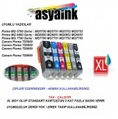 Asyaink Canon Pixma Mg5750 Uyumlu 6 Renk Muadil Kartuş Seti (6 Ad