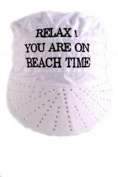 Relax Beyaz Sloganlı Taşlı Bandana