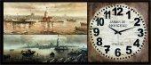 Ahşap Tablolu Dekoratif Duvar Saati 100x40