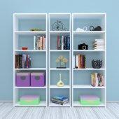 Nur Mobilya Mızrak 3lü Kitaplık Beyaz