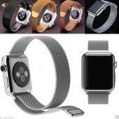 Apple Watch 2 3 4 Uyumlu 38 40mm Ve 42 44mm Metal Hasır Kordon