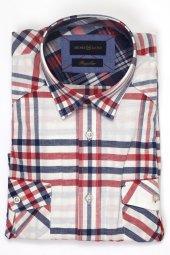 Pıngömlek Henri Yıkamalı Uzul Kol Geniş Ekose Erkek Gömlek