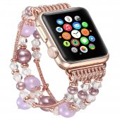 Apple Watch 2 3 42 Mm Mor Renk Boncuklu Taşlı Kordon