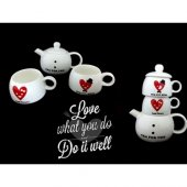 Sevgiliye Özel Çay Demlik Seti Hediyelik Eşya Fincan Seti