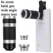 Iphone 7 7 Plus 4 İn 1 Lens 8x Teleskop Balık Göz Wide Angle Macro Lens