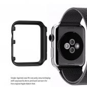 Apple Watch 42 Mm Metal Çerçeve Kılıf Hard Case Siyah