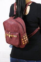 Zımbalı Bordo Renk Sırt Kadın Çantası