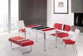 Masa Sandalye Takımı Banklı Takım Açılır Masa Kırmızı Beyaz