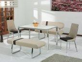 Masa Sandalye Takımı Banklı Takım Polo Model Capuchino Kahve