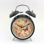 Kelebek Desenli Metal Çalar Masa Saati