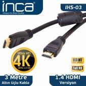 ınca Ihs 03 Altın Uçlu 4k Ultra Hd 3d Hdmı 3 Metre Kablo