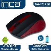 ınca Iwm T371 Kırmızı 2.4ghz Wıreless Nano Alıcılı �pil Hediyeli Mouse