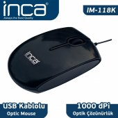 ınca Im 118k Usb Optik Pıano Black Mouse