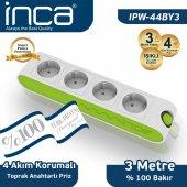 ınca 100 Türk Tasarımlı 4lü Akım Korumalı Işıklı Priz 3 Metre Beyaz Yeşil