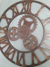 Büyük Boy Ferforje Duvar Saati Kahverengi Krem 100 Cm K112