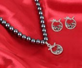 Taşlı Lüks Bayan İnci Kolye Ve Küpe Seti Tbg 1649