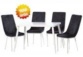 Teknoset Silver Serisi Beyaz Siyah Mutfak Masa Sandalye Takımı