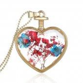 Frilly Kuru Çiçek Kalp Kolye (Fkk104l)