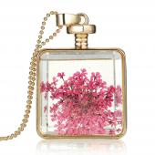 Frilly Cam Çerçeve Kuru Çiçek Kolye (Fkk681)
