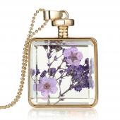 Frilly Cam Çerçeve Kuru Çiçek Kolye (Fkk684)