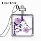 Frilly Cam Çerçeve Kuru Çiçek Kolye (Fkk713)