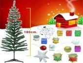 Yılbaşı Ağacı 180cm Pirinç Işık Ve 30 Adet Ağaç Süsleri
