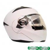 Knt 105 Vizörlü Motosiklet Kaskı Mat Beyaz