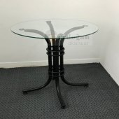 Yuvarlak Mutfak Cam Masası Siyah Gövde 70 Cm